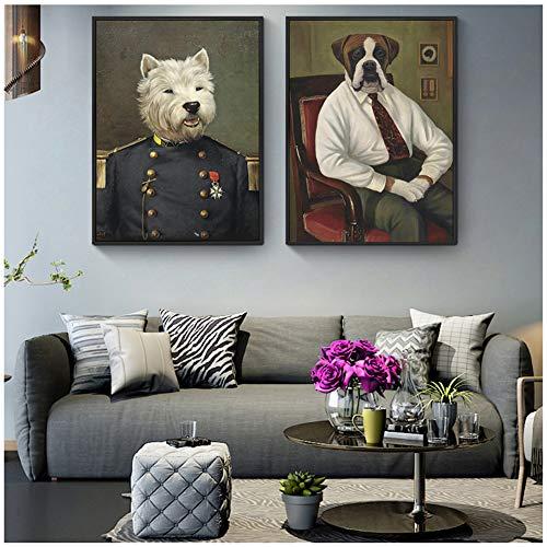 Bzdmly olieverfschilderij afdrukken op canvas kunstposters en afdrukken hond in militair uniform Mooie honden hoofddecoratie 30x40 cm/11.8