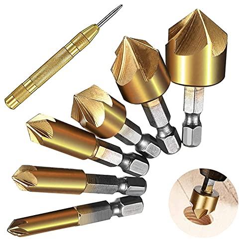 Juego de 7 avellanadores cónicos, 5 flautas HSS, 90°, avellanador, sat con revestimiento de titanio para madera y fresa de corte de metal blando, incluye agujero, escariador de madera, 6-19 mm