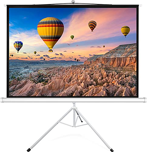 PERLESMITH Projector Screen with Stand 120 Inch 4K Ultra HD Outdoor Indoor 4:3 with Foldable Tripod Retractable 3D Large Widescreen for Office, Movie, Home Theater, School