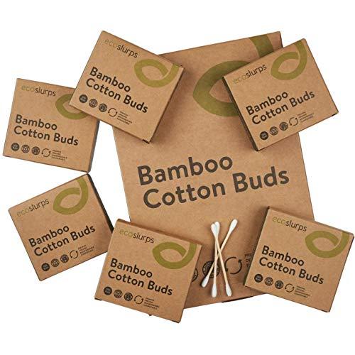 600 EcoSlurps Cotons-tiges en bambou | Boîte de cotons tiges compostables en bois | Biodégradables, sûrs et respectueux de lenvironnement