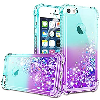 iPhone 5/iPhone 5S Case iPhone SE Case with HD Screen Protector for Girls Women Gritup Cute Clear Gradient Glitter Liquid TPU Slim Phone Case for Apple iPhone 5/5S/SE Teal/Purple