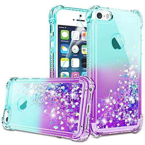 bq iphone 5c covers iPhone 5/iPhone 5S Case, iPhone SE Case with HD Screen Protector for Girls Women, Gritup Cute Clear Gradient Glitter Liquid TPU Slim Phone Case for Apple iPhone 5/5S/SE Teal/Purple