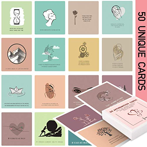 50 Affirmation Card for Women With 100 positive affirmation quotes, daily affirmation cards set. Self Care and Meditation Gift For Women. Empowering, Inspirational Affirmation for Stress Relief