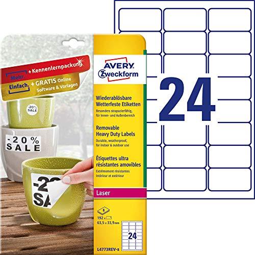 AVERY Zweckform L4773REV-8 Wetterfeste Folien-Etiketten, wiederablösbar (63,5x33,9 mm auf DIN A4, selbstklebend, bedruckbare Outdoor Klebefolie) 192 Aufkleber auf 8 Blatt weiß