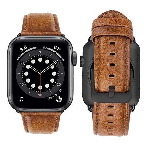 iBazal Compatible con iWatch Series 4 Correa 44mm 42mm Cuero Piel Pulseras Brazaletes Bandas Reemplazo Series 4 Series 3 Series 2 Series 1 Hombres Mujer Reloj Inteligente - Marrón único/Hebilla Negro