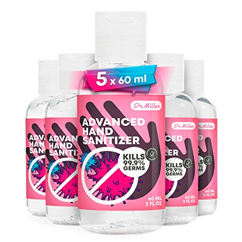 Dr. Miller Mosturzng Hand Snitizer  Pack of 5 2 fl.oz  75%, Advanced Disposable Vitamin E and Aloe Hand Snitizer Gel No Wash Waterless Clean