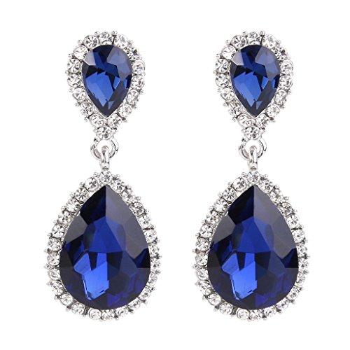 EVER FAITH Rhinestone de las mujeres de cristal austriaco 2 de la lágrima cuelga los pendientes Azul marino tono plateado