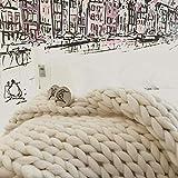 DIRUNEN Chunky Knit Blanket Handmade by Soft Knitting Throw Bed Bedroom Decor Bulky Sofa Ivory White 40'×59'
