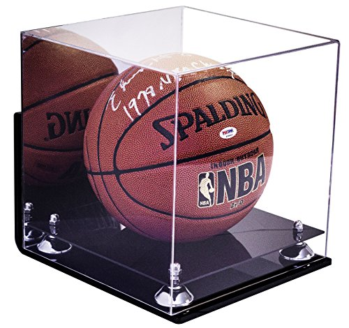 Better Display Cases Acrylic Full Size Basketball Display Case with Silver Risers, Mirror and Wall Mount (A001-SR)