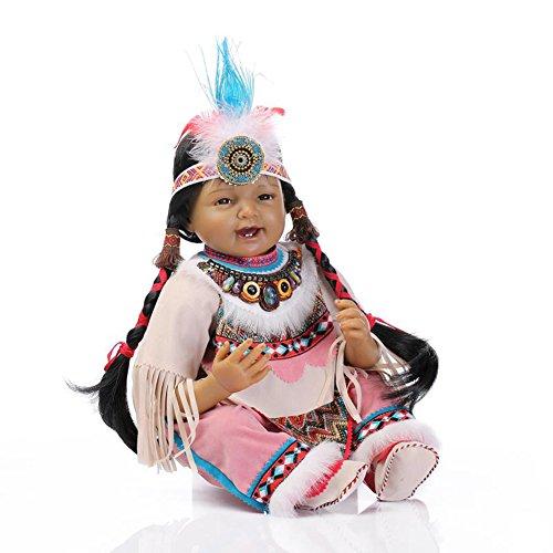 Terabithia 22 Zoll Schwarz Selten Lebendig Lächelnd Indianer Weichkörper Reborn Babypuppen sehen echt aus