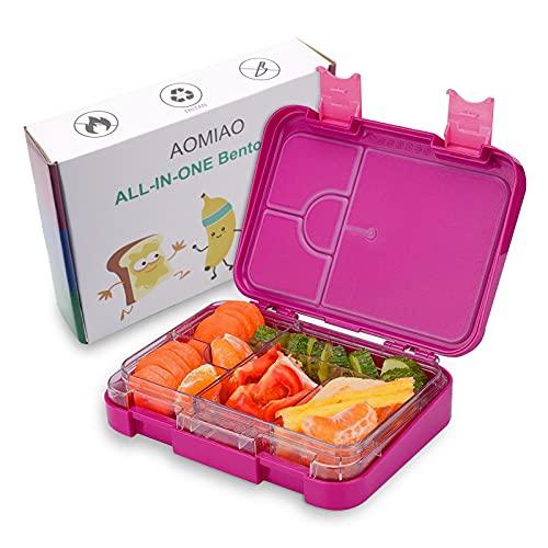 AOMIAO Anti-Caída Bento Box para Niños, Lunch Box Infantil con 4+2 Compartimentos Reutilizable para Trabajo Escuela Viajes Pícnic Merienda Almuerzo Desayuno Cena con 2 Pegatina Rosa Roja