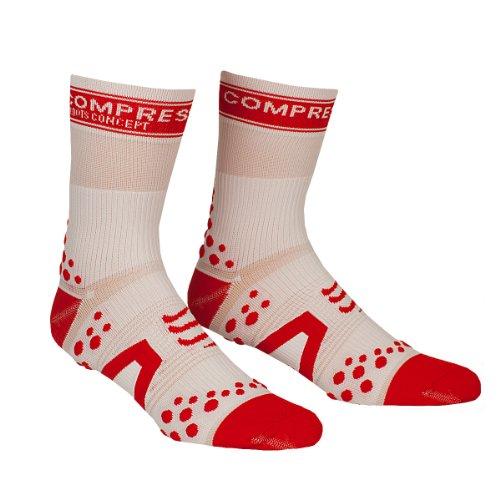 COMPRESSPORT - Calcetines, Color Blanco/Rojo, Talla S