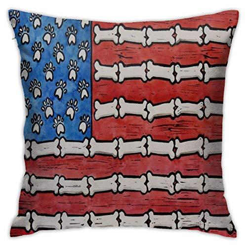Fundas de almohada de goma para patas de perro y huesos de la bandera americana, funda de cojín clásica, suave y cómoda, para habitación, sofá, silla, 40,6 x 40,6 cm