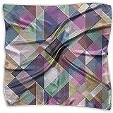 Uridy Pañuelo de raso cuadrado Arte Seda geométrica Como bandanas ligeras Pañuelo para la cabeza Chal para el cuello Pañuelo para la cabeza