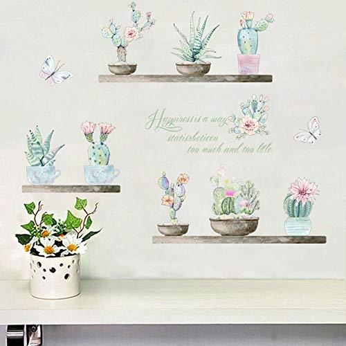 1THTHT1 Gartenpflanze Bonsai Blume Schmetterling Wandaufkleber Ausgangsdekor Wohnzimmer Kaktus Aloe Wandtattoos DIY Wandkunst PVC Poster
