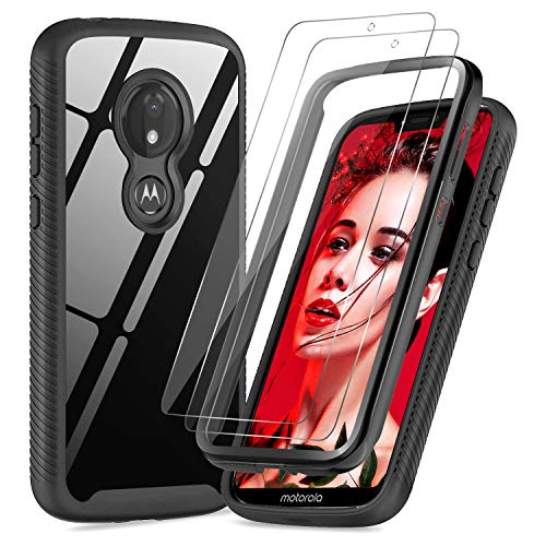 Moto G7 Power Case, Moto G7 Supra Case with 2 Tempered Glass Screen Protector, LeYi Full-Body Rugged Hybrid Bumper Shockproof Clear Protective Phone Cover Case for Motorola G7 Power Black (Not Fit G7)