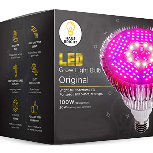LED Grow Light Bulb - for Indoor Plants Full Spectrum Lamp   Seed Starting, House, Garden, Vegetable, Succulent, Hydroponic, Greenhouse & Medicinal Growing   100W E27 Plant Lights by Haus Bright