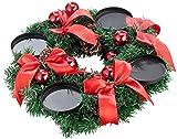 Britesta Adventsdeko-Kerzen-Kranz: Adventskranz mit roten LED-Kerzen, rot geschmückt (Weihnachtsschmuck LED-Beleuchtung) - 3
