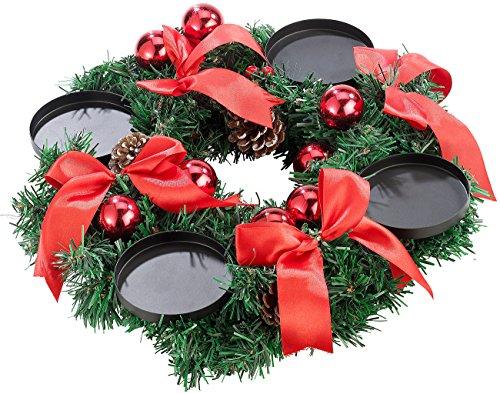 Britesta Adventskranz ohne Kerzen: Adventskranz mit rotem Schmuck, Ø 30 cm (Adventkränze)