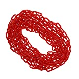BISupply Plastic Chain Links Red Chain Link Plastic Chains Halloween Chain Crowd Control Chain Red 25ft x 6mm