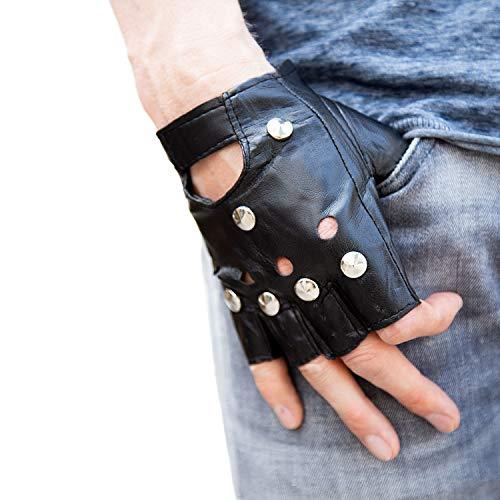 Oblique Unique® Handschuhe mit Nieten Fingerlos Halbfinger Kunstleder in Schwarz Punk Metal Biker Motorrad Radfahren in Größe M - L