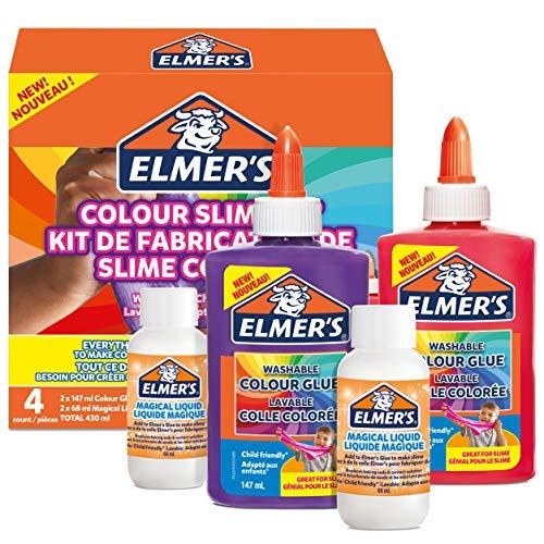 ELMER'S Kit per Slime Colorato, include la Colla Vinilica Colorata Lavabile, Colori assortiti, con Liquido Magico Attivatore di Slime, 4 Pezzi