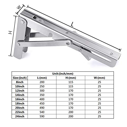 Toirxarn Folding Shelf Brackets 20 Inch, Max Load: 330Ib, Heavy Duty Stainless Steel Collapsible Bracket for DIY Space Saving Wall Mounted Work Bench.Pack of 2