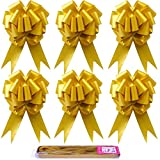 TSLBW Paquete de 30 lazos de cinta grandes para Navidad, ideal para regalos, ramos de flores, arreglos de cestas, bodas, tributos, Navidad, fiesta, decoración de pared (oro)