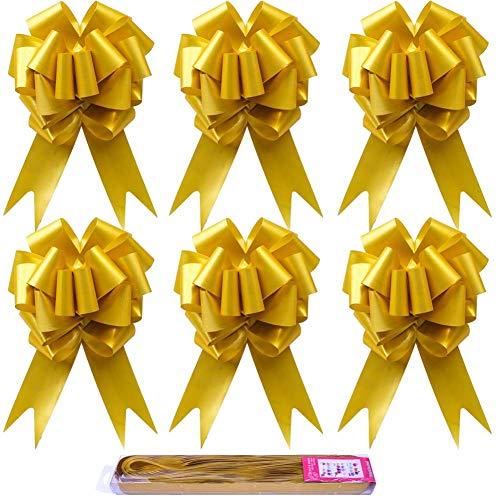 Paquete de 30 lazos dorados de cinta grandes para decoración de Navidad, ideal para regalo, ramos de flores, cestas de boda, tributos de Navidad, decoración de la pared