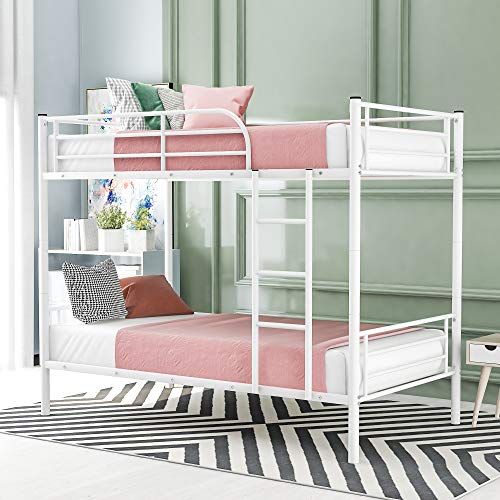 Twin Over Twin Metal Bunk Bed,Convertible Into 2 Individual Bed with Safety Guard Rails and Flat Ladder for Kids Teens Adults (White)