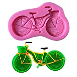 Paris Bicycle Bike with Basket Silicone Fondant Mold Chocolate Candy Gumpaste Sugarcraft Cake Decorating Tools Paper Clay Mold
