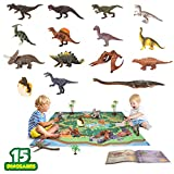 """Dinosaur Toys 15 Realistic Figures with PlayMat Books Educational 6"""" to 10"""" Dino Party Supplies for Kids Boys Girls Including T-rex Triceratops Velociraptor Pterosaur"""