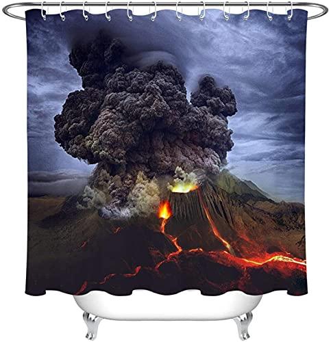 JZDH Duschvorhänge Sets Dark Rauch Feuerwolke wasserdichte Gewebe Duschvorhang Haken Badezimmer Zubehör 180x180cm (71x71in)