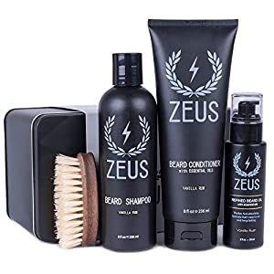 ZEUS 100% Vegan Beard Grooming Set - Vegan Formula Oil, Shampoo, and Conditioner with Natural Plant Fiber Bristle Brush… 4