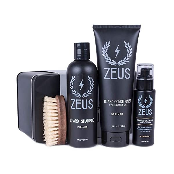 ZEUS 100% Vegan Beard Grooming Set - Vegan Formula Oil, Shampoo, and Conditioner with Natural Plant Fiber Bristle Brush… 1