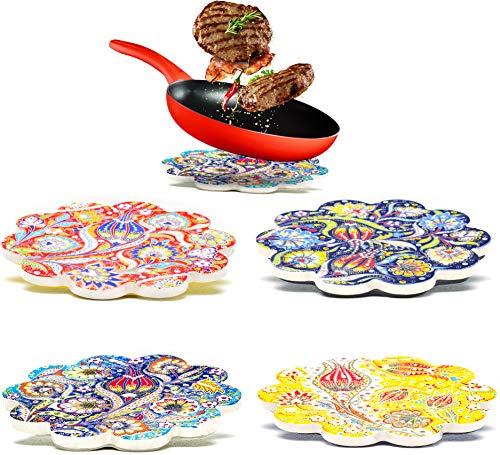 Dekorative Keramik-Untersetzer 4er-Set – für Töpfe, Pfannen, Vasen Karaffen Kerzen – Großes 18 cm orientalisches Mandala Untersetzer Tischsets –Marokkanische Untersetzer Esstisch – Topfuntersetzer Set