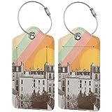 Etiquetas de equipaje de piel con diseño de arcoíris Sky por encima de París, bolsa de equipaje de viaje con funda de privacidad, juego de 2 piezas
