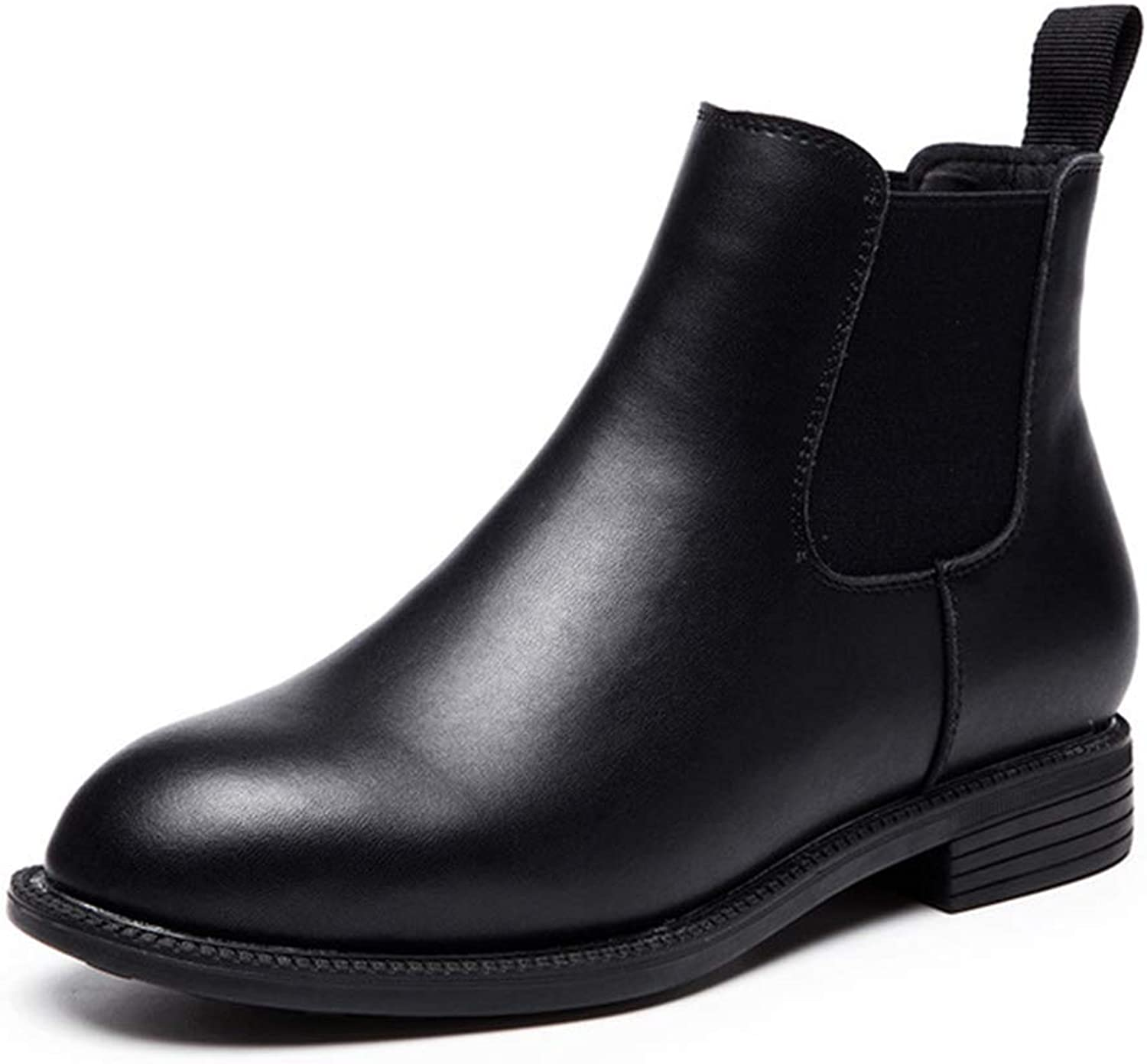 ZSXWIN New Women's Students Leather Thick with Fashion Boots