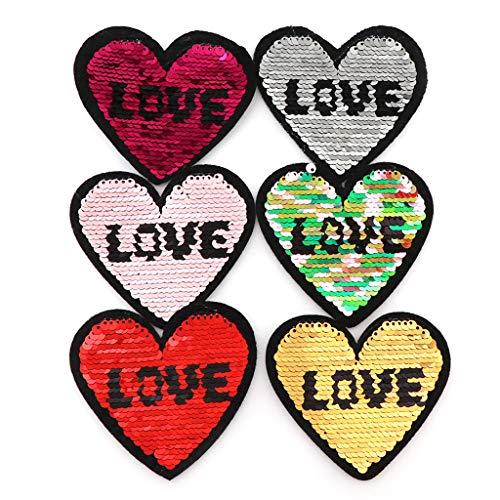 UYT Un juego de 6 parches de tela con lentejuelas de love, 6 piezas para coser o planchar de ropa, parches de lentejuelas para ropa infantil, chaquetas, mochilas y mochilas escolares.