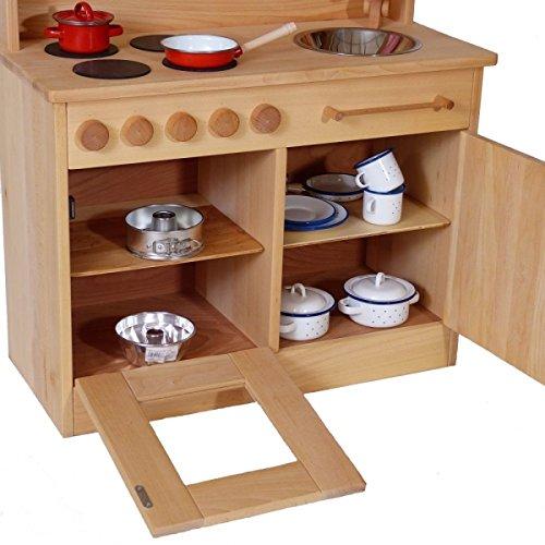 Massivholz-Kinderküche 2024N Natur-Spielzeug-Küche - Herd - Spüle - Backofen - 4