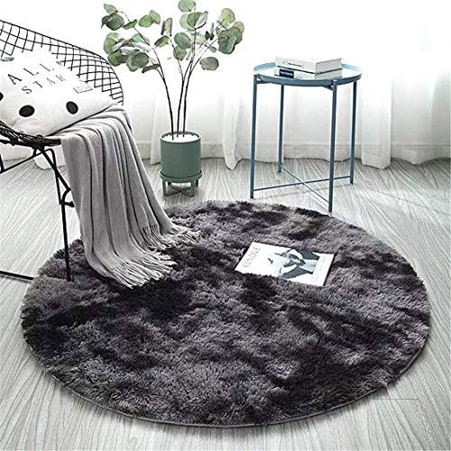 ZHOUZEKAI rund Hochflor Teppich wohnzimmerteppich Langflor - Teppiche für Wohnzimmer flauschig Shaggy Schlafzimmer Bettvorleger Outdoor Carpet,Dunkler und Heller Teppich (Dunkelgrau, 100 x 100 cm)