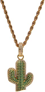 Fashion Design Hip Hop Copper Cactus Zircon Pendant Necklace for Men/Women