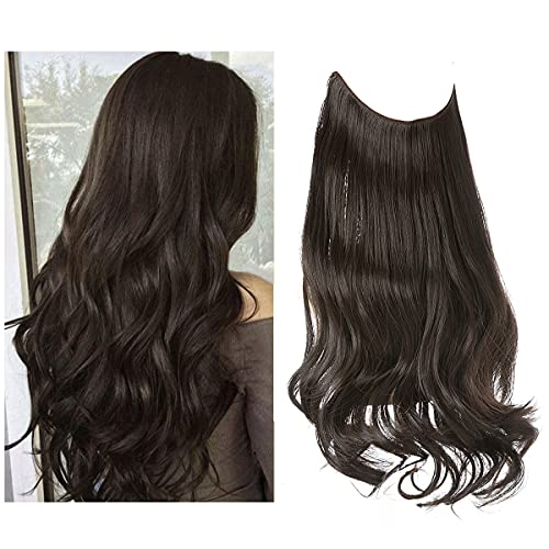 Darker Brown Halo Hair Extension Short Synthetic Hair Piece Wavy Curly 14 Inch 3.7 Oz Invisible Wire Adjustable Headband for Women High Temperature Fiber No Clip SARLA
