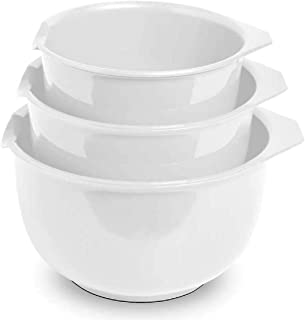 Glad Mixing Bowls with Pour Spout, Set of 3 | Nesting Design Saves Space | Non-Slip, BPA Free, Dishwasher Safe | Kitchen C...