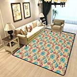Vintage Retro Style Living Room Rug Blossoming Flowers Antique Artistic Flora with Color Details Ornate Garden Soft Fluffy Bedroom Area Rugs Pink Tan Sky Blue W6xL8.8 Feet