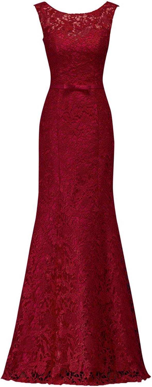 SecretCastle Women's Crewneck Floorlength Lace Prom Dresses Long