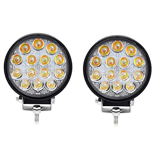 BeiLan 2Pcs Focos de Coche LED, 42W 12V / 24V Faros Led Trabajo Proyectores Luz de carretera Luz de trabajo auxiliar para trabajo fuera de carretera Barra de luz LED impermeable para camión, tractor