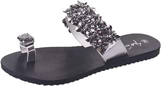 Womens Non-Slip Flat Sandals Rhinestone Open Toe Shoes Bohemia Casual Slippers