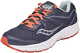 Saucony Women's Cohesion 11 Running Shoe, Grey/red, 9.5 M US
