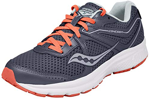 Saucony Women's Cohesion 11 Running Shoe, Grey/red, 6.5 Medium US